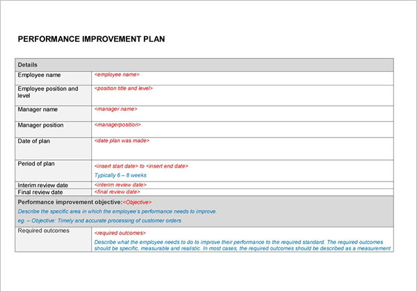 Performance Improvement Plan Sample Word