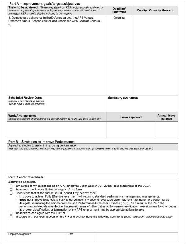 Performance Improvement Plan Word Template
