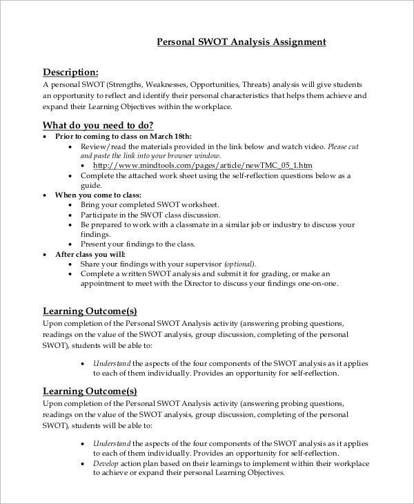 Personal SWOT Analysis Template PDF