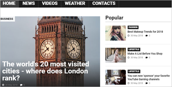 Popular News Portal Blog Theme