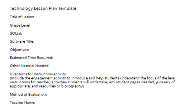 Printable Lesson Plan Template Word