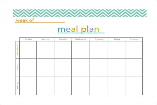 PrintableMeal Planning Template