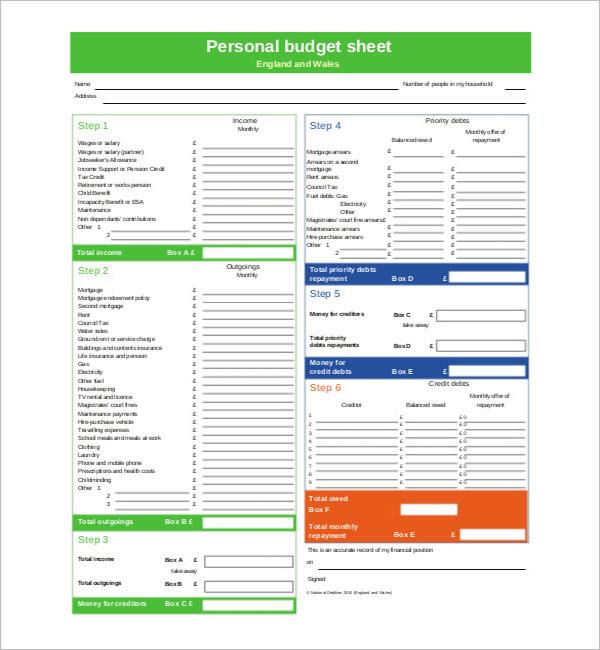 Printable Personal Budget Template