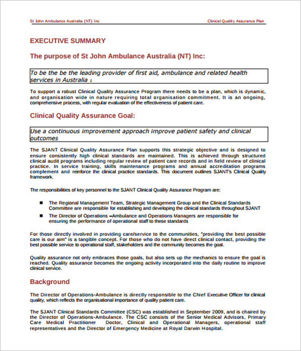 Printable Quality Assurance Plan Template