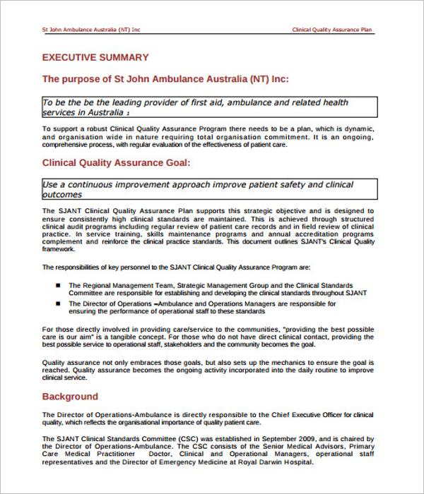 Printable Quality Assurance Plan Template