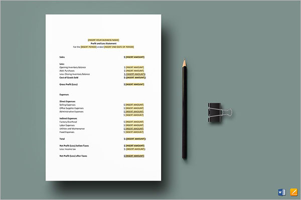 Profit & Loss Income Statement Template