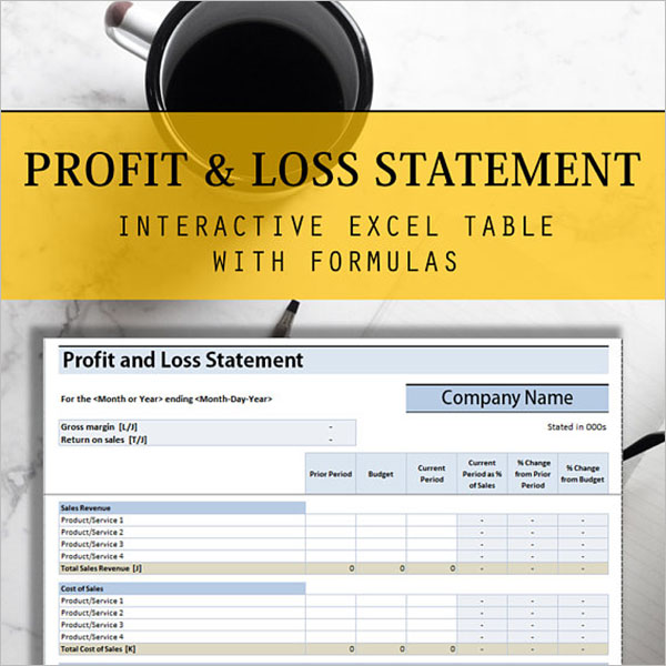 Profit & Loss Statement Excel Template