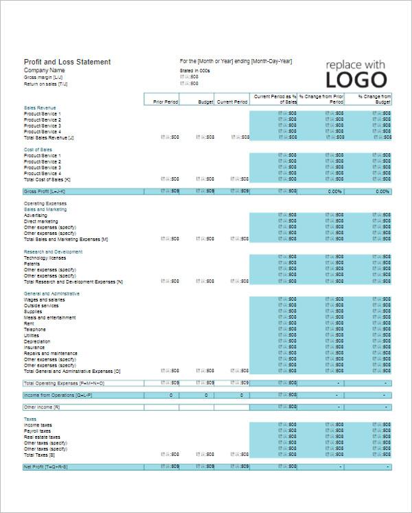 Profit & Loss Statement Template XLS