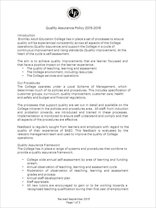 Quality Assurance Plan PDF
