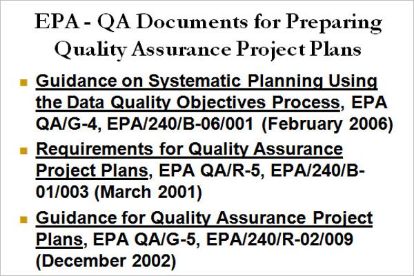 Quality Control & Assurance Plan Template