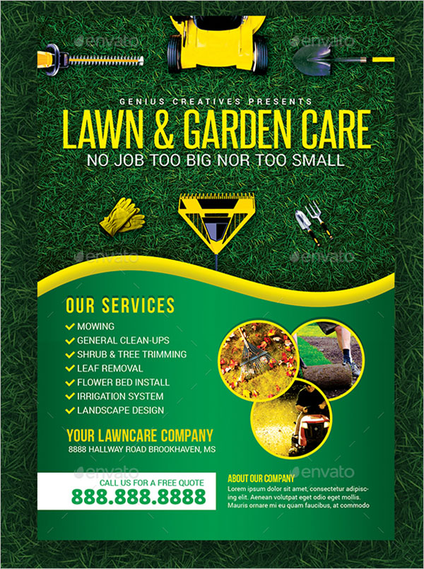Realistic Lawn Care Services Flyer Template