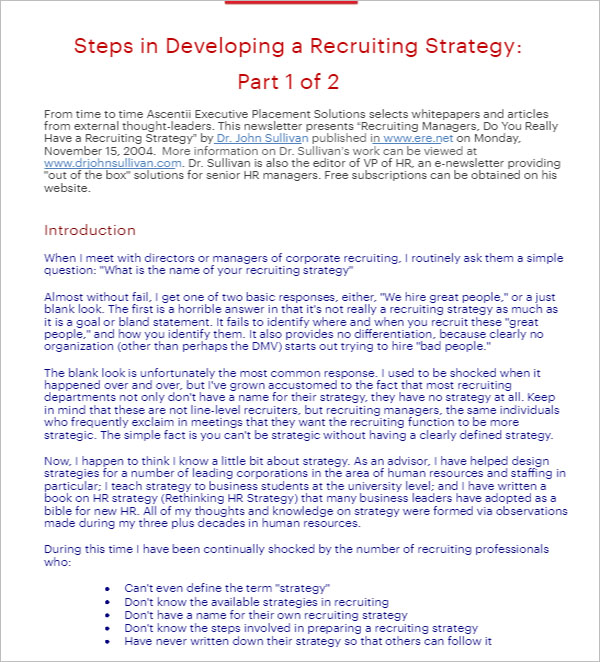 24+ Recruitment Strategy Templates Free DOC, Excel Samples