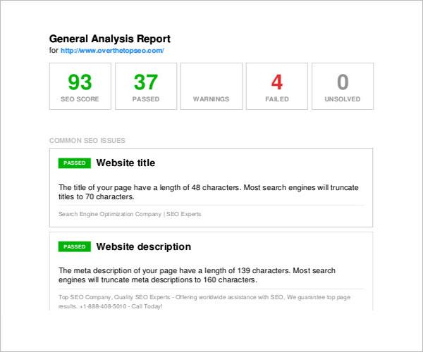 SEO Report In Excel