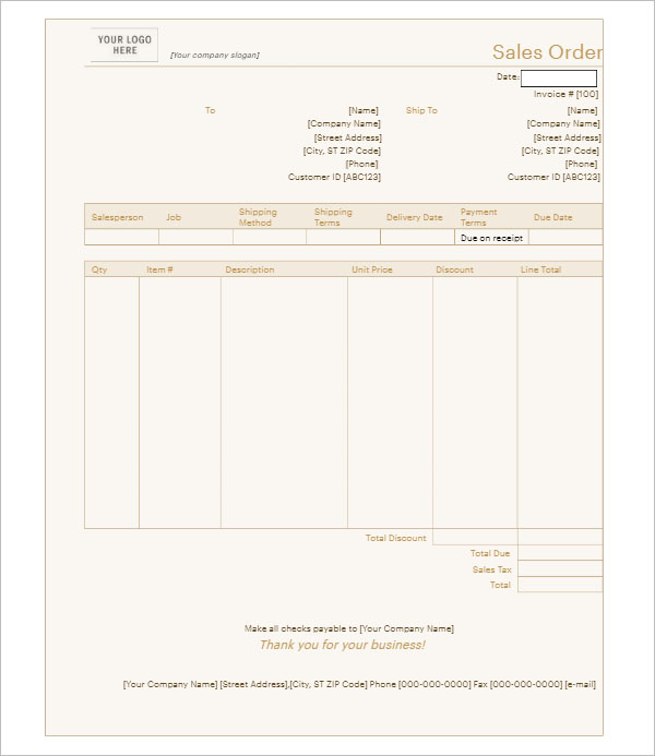 Sales Order Template Doc