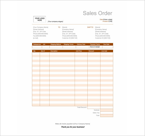 Sales Order Template Word