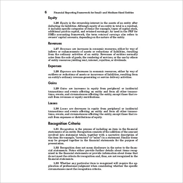 Sample Financial Report Template