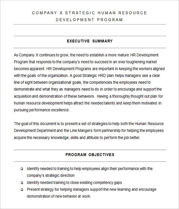 Sample Human Resource Strategy Template