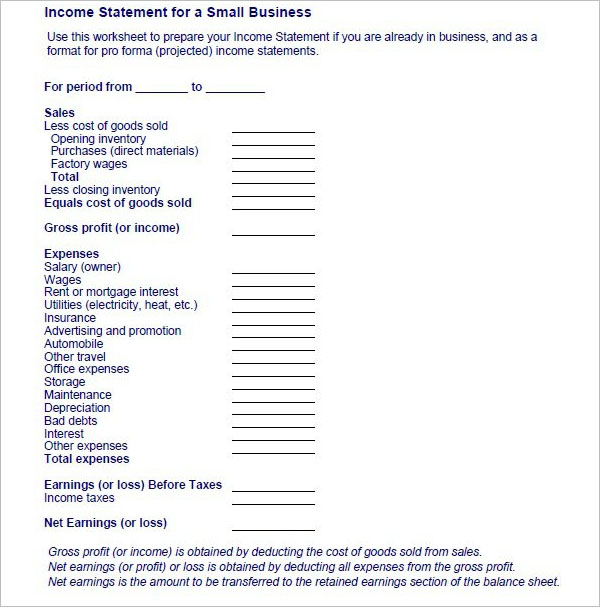 Sample Income Statement For Small Business
