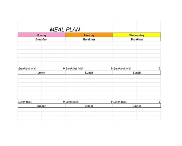 Sample Meal Planning Template