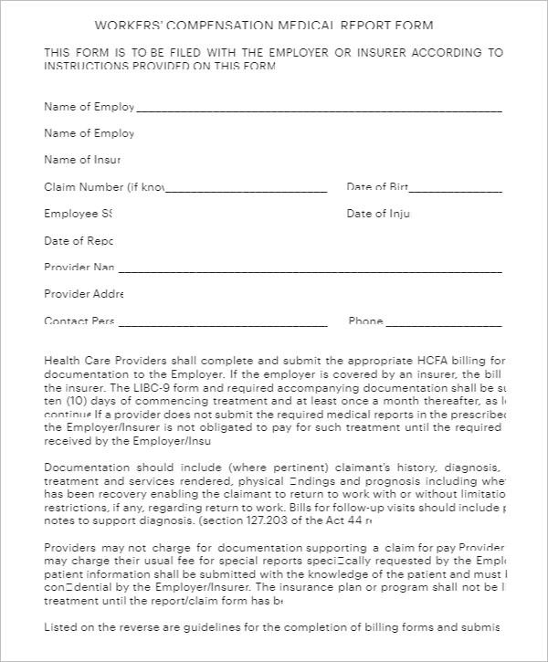Sample Medical Report Form Template