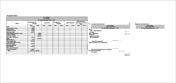 Sample Profit & Loss Worksheet Template