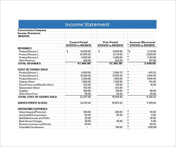 Sample Template For Income StatementSample Template For Income Statement