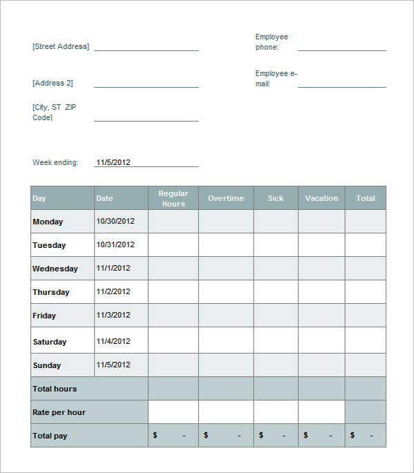 Sample Weekly Paycheck Calculator Template