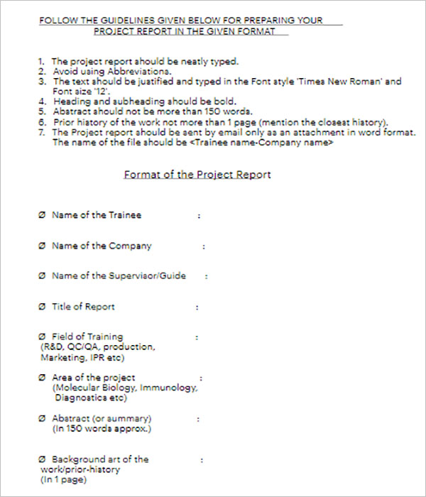 School Report Template Doc