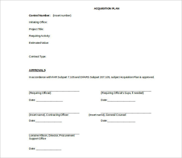 Simple Acquisition Strategy Template
