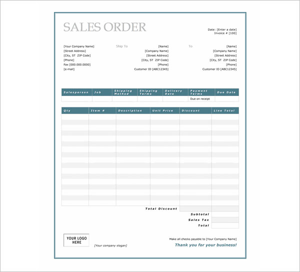 Simple Sales Order Template