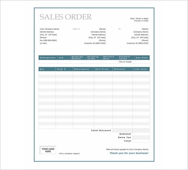 Simple Sales Order Template