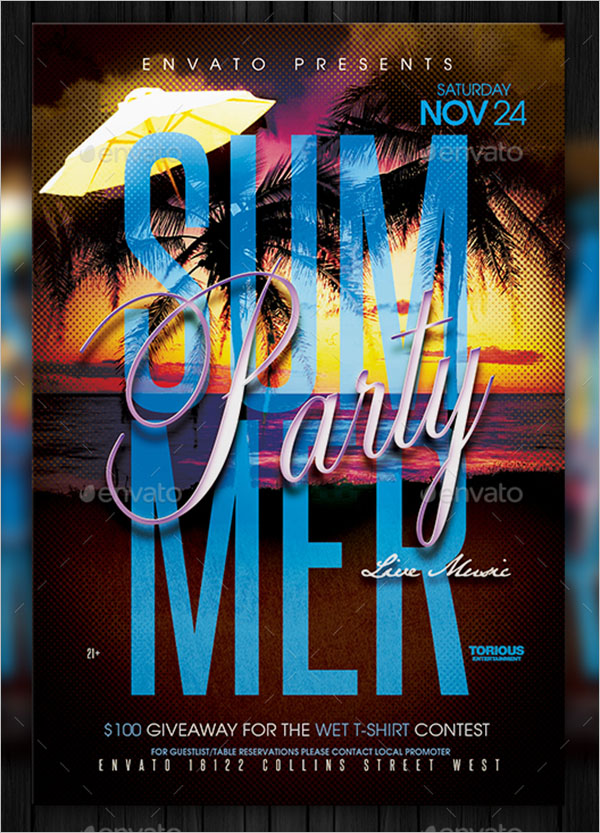 Simple Summer Party Flyer Template