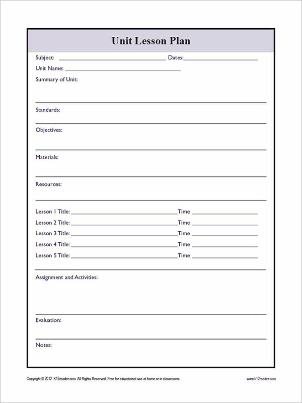 Simple Unit Test Plan Format