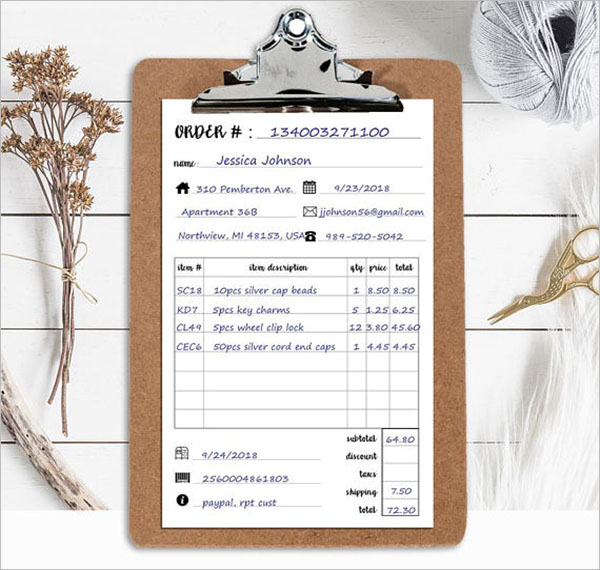 Small Business Sales Order Template