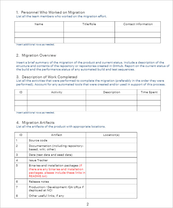 Software Summary Report Template
