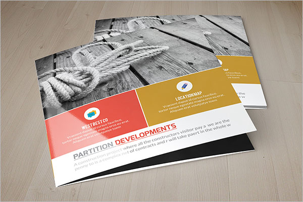 Square Half Fold Brochure Template
