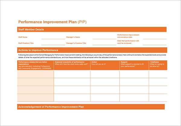 Staff Performance Development Plan Template
