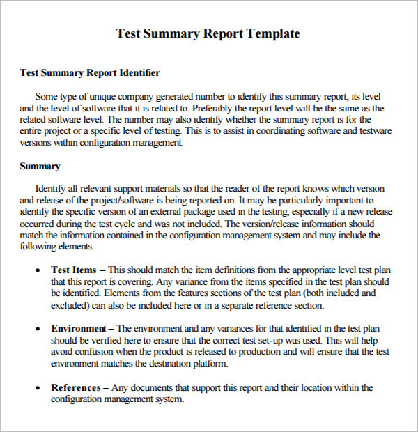 Summary Report Template Word