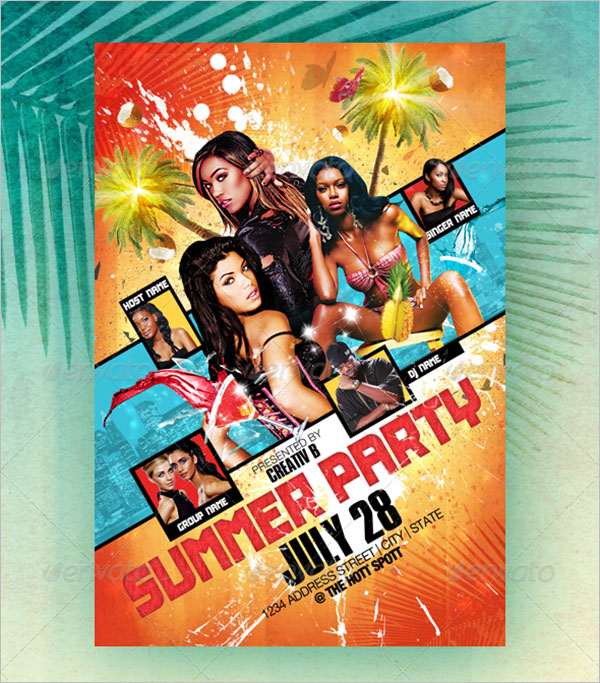 Summer Party Flyer Photoshop