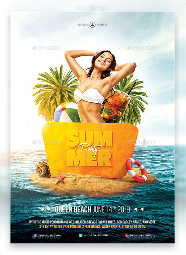 Summer Party Flyer Template for Adobe Photoshop