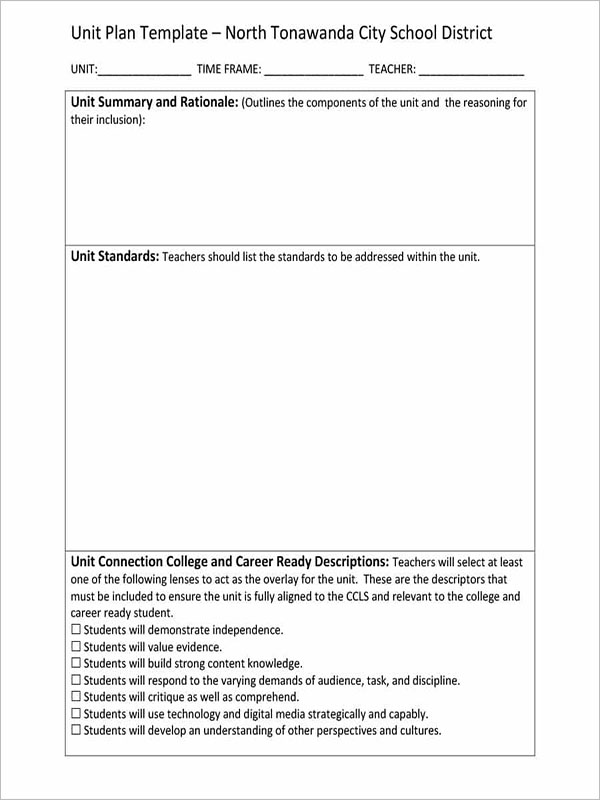 Teacher Unit Plan Template