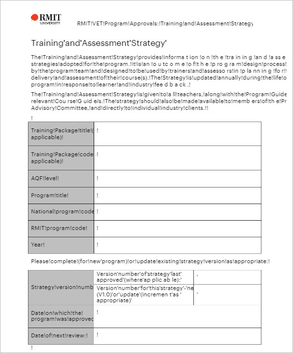 Training Evaluation Strategy  Template