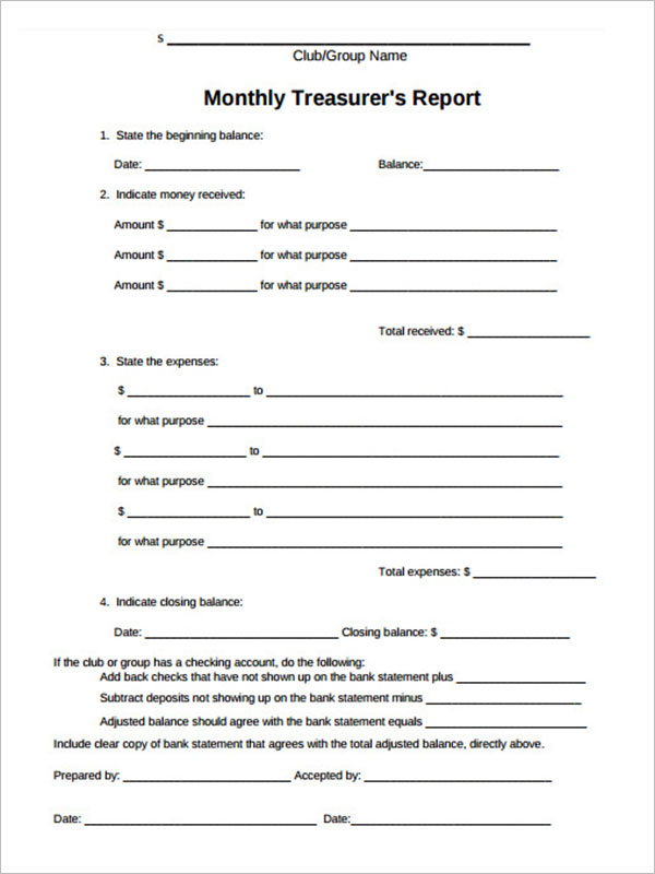Treasurer Report Template Doc