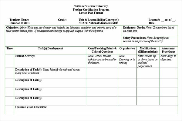 Unit Plan Template Excel