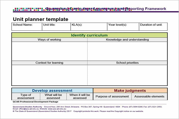 Unit Plan Template For Secondary Teacher