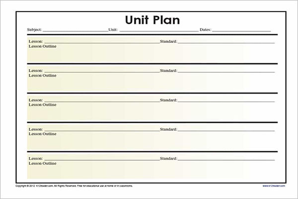 Unit Plan Template Word