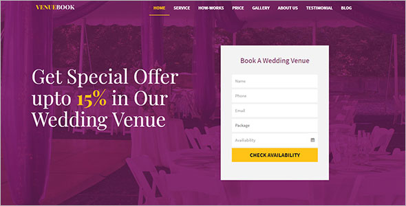 Wedding Venue Booking Landing Page Template