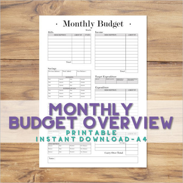 Weekly Expenditure Budget Format
