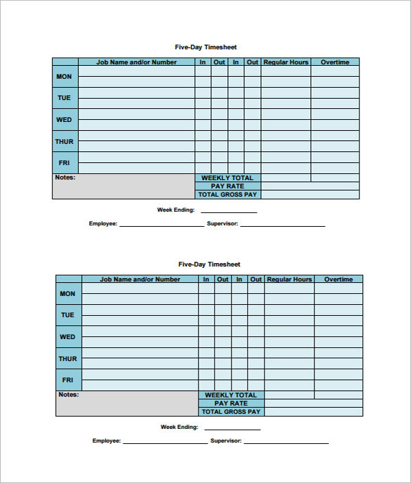 Weekly Paycheck Calculator PDF Template