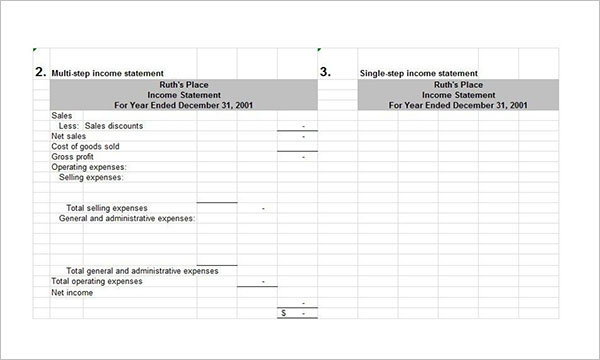 Year End Income Statement Example
